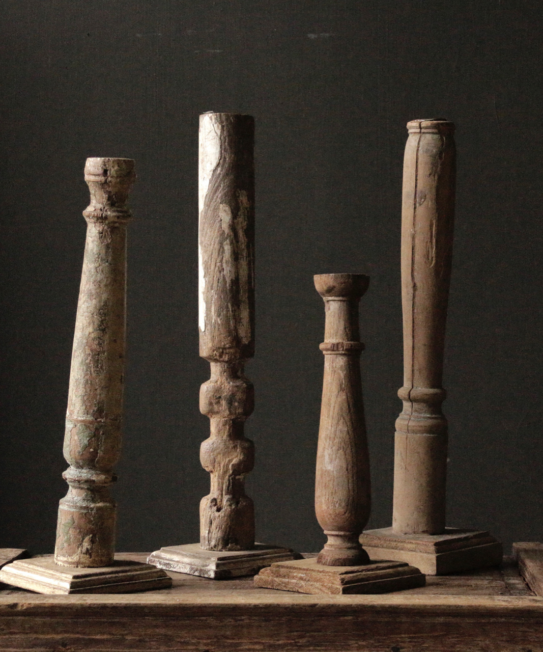 Wooden Nepalese old candlesticks-5