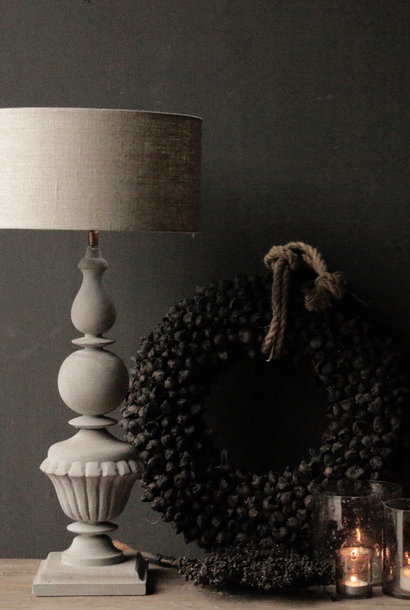 Gray wooden table lamp