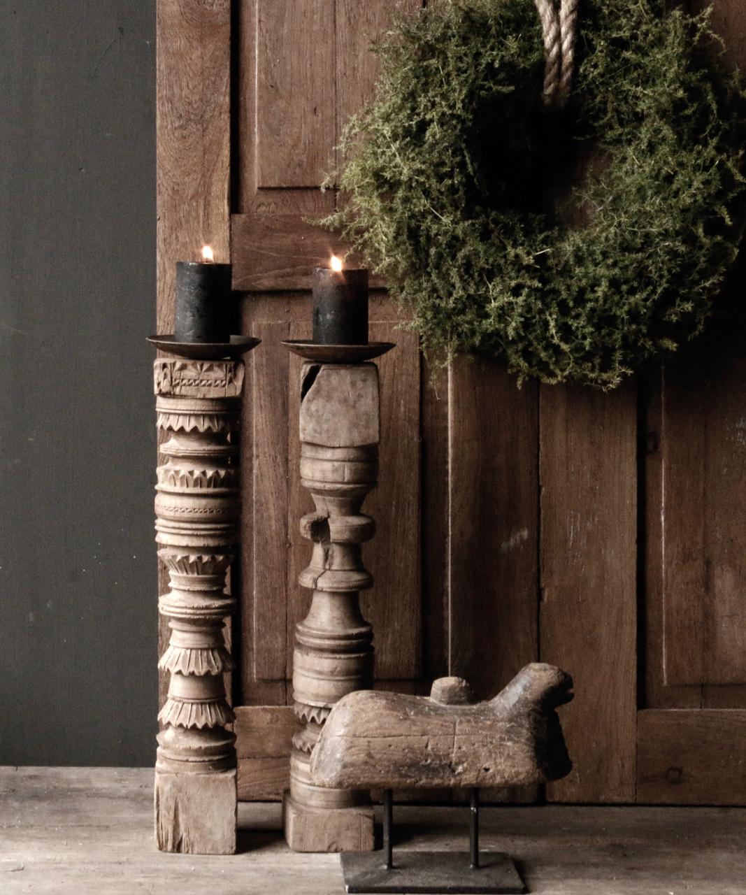Oud houten Nepalese baluster kandelaars-1