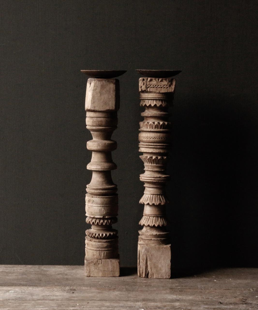 Oud houten Nepalese baluster kandelaars-3