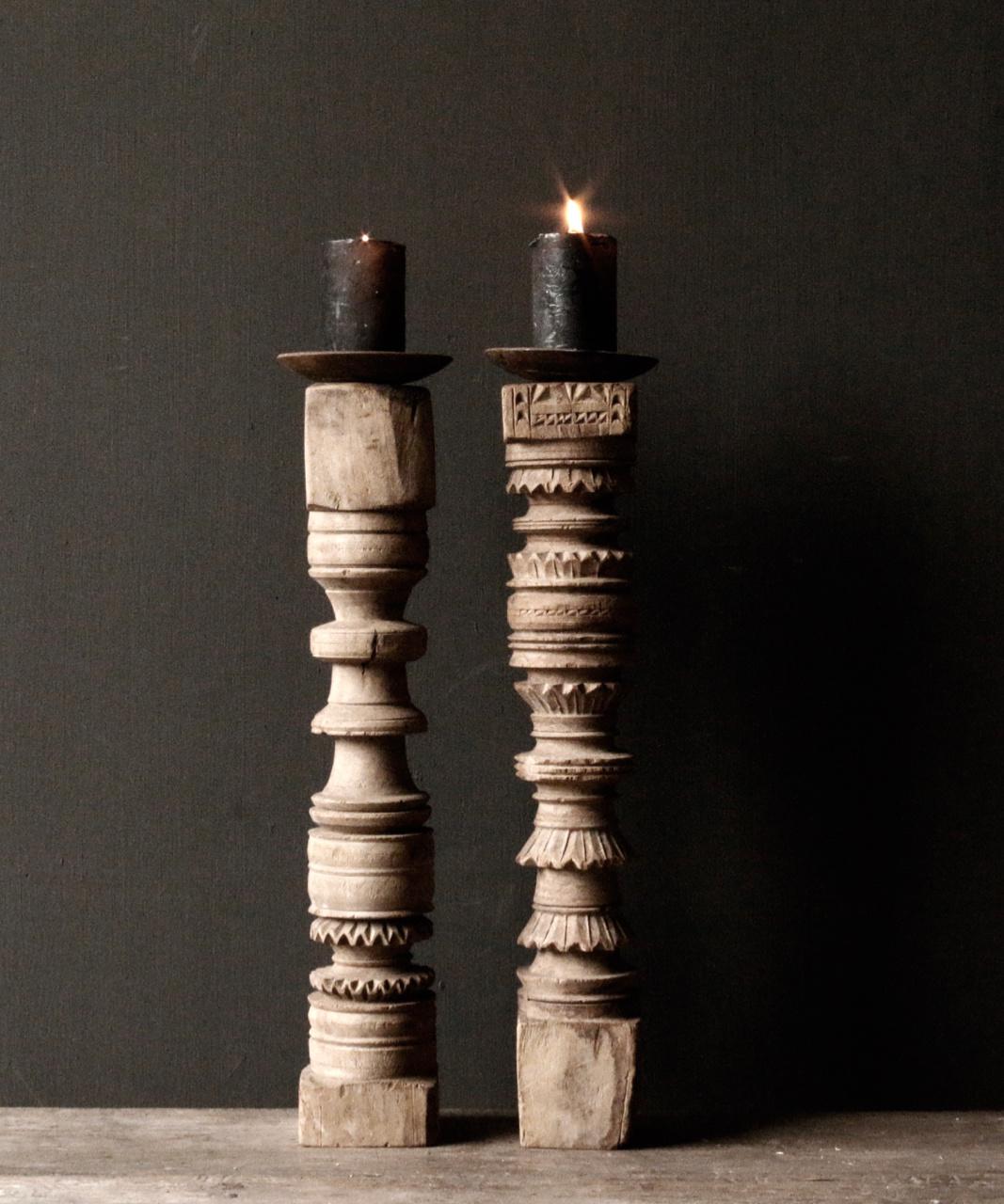 Oud houten Nepalese baluster kandelaars-6
