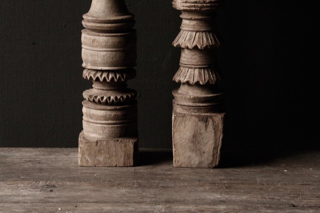 Oud houten Nepalese baluster kandelaars-8