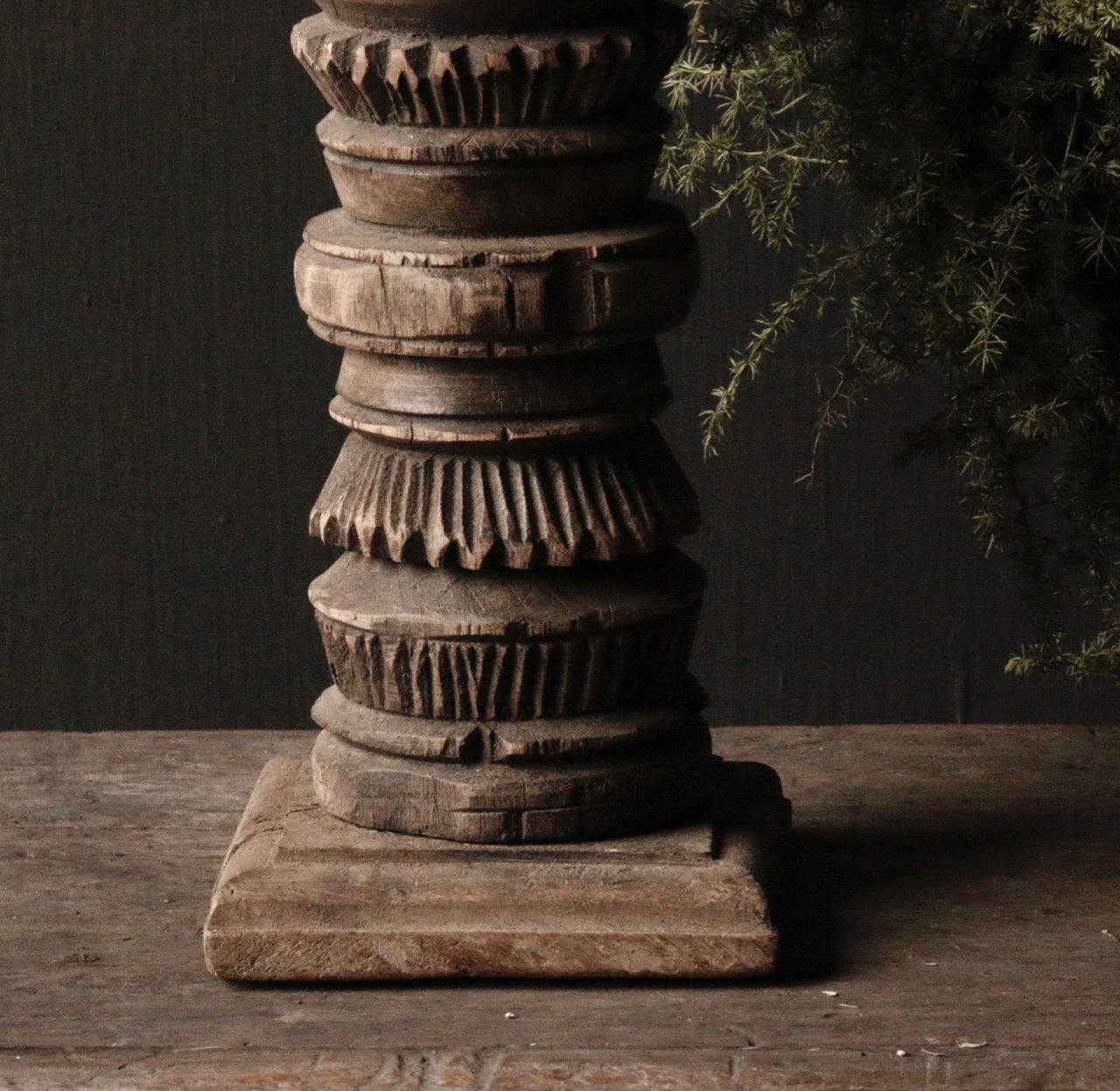 Old wooden Nepalese baluster candlesticks-3