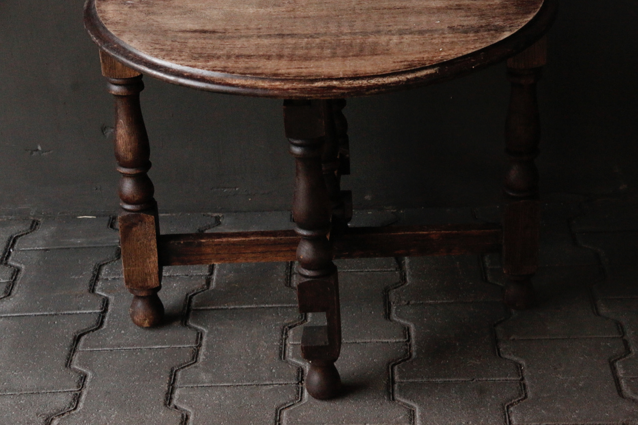 Small old round Salon / Side table-5
