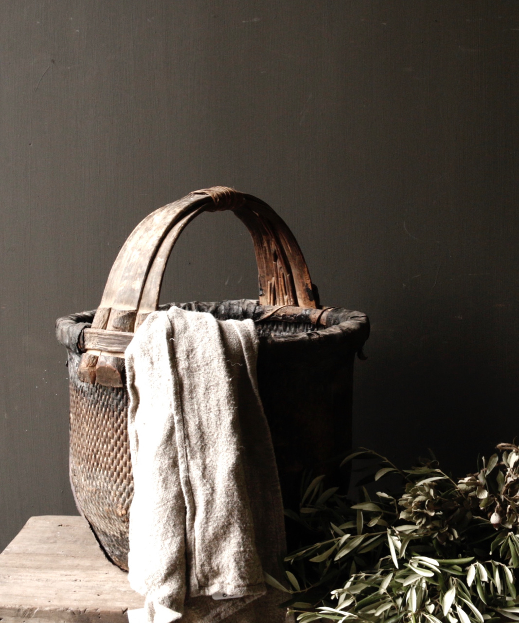 Oude Authentieke Wicker mand-1