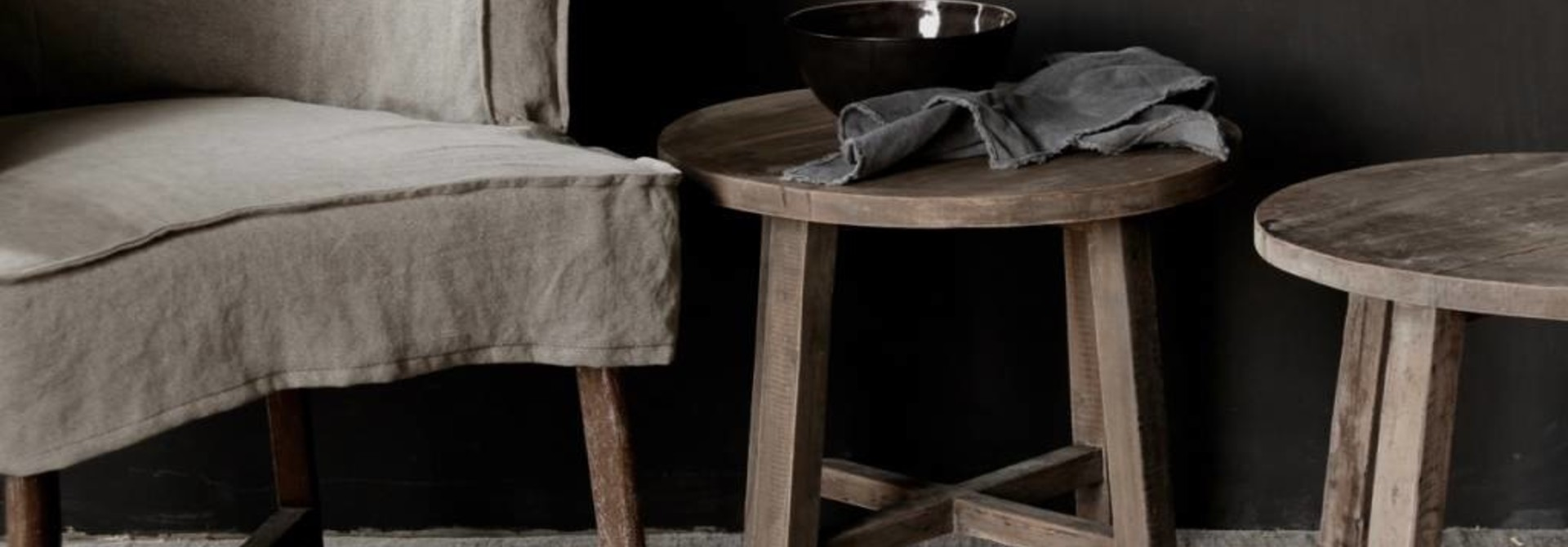 Small round Salon / Side table made from old used wood