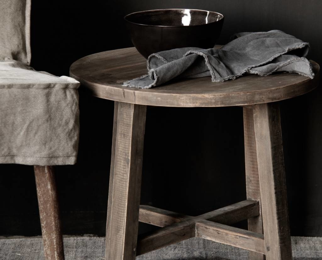 Small round Salon / Side table made from old used wood-2
