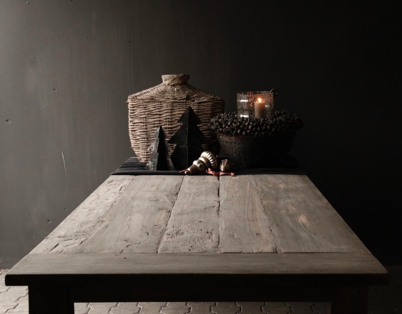 Mooie stoere vergrijsde eetkamer tafel oud hout-2