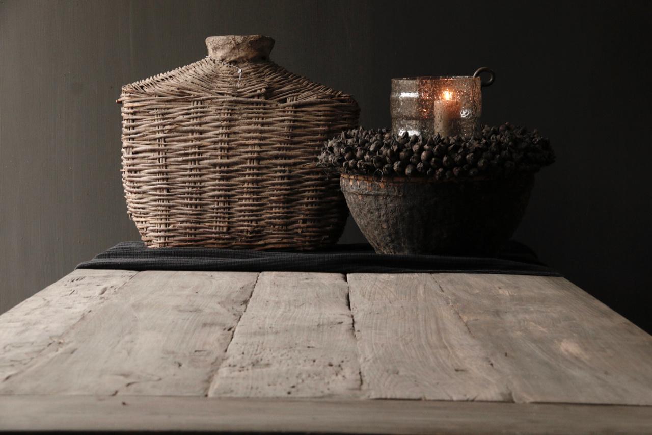 Mooie stoere vergrijsde eetkamer tafel oud hout-3