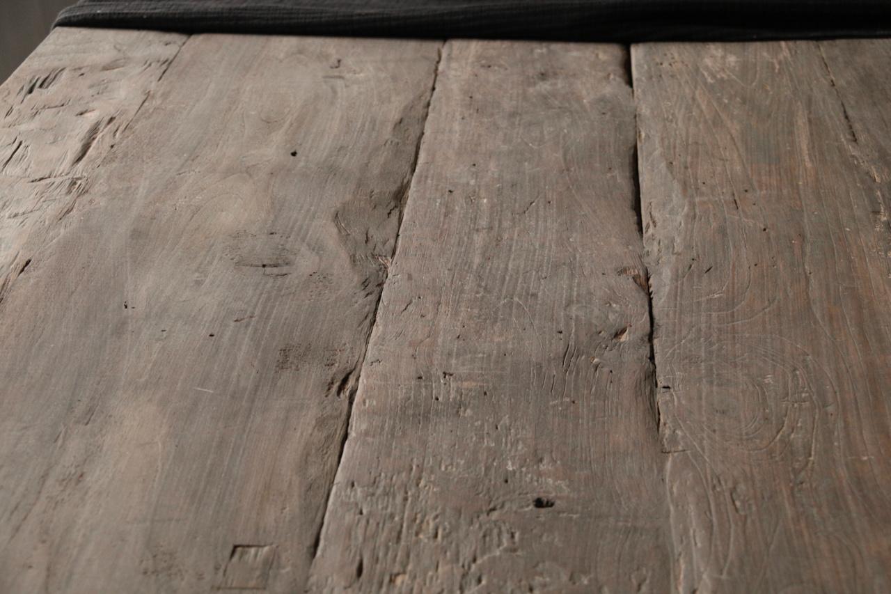 Mooie stoere vergrijsde eetkamer tafel oud hout-5