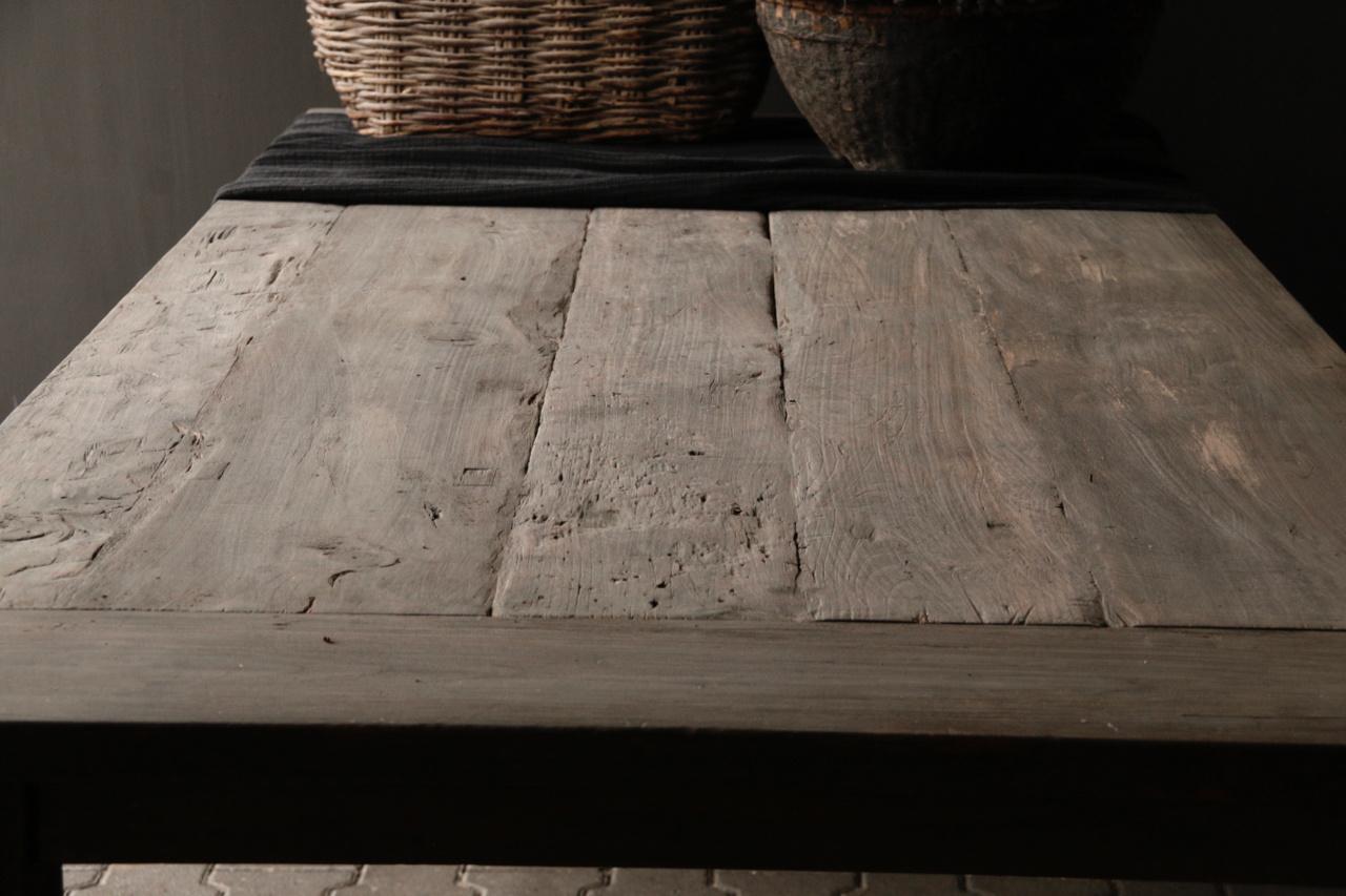 Mooie stoere vergrijsde eetkamer tafel oud hout-7