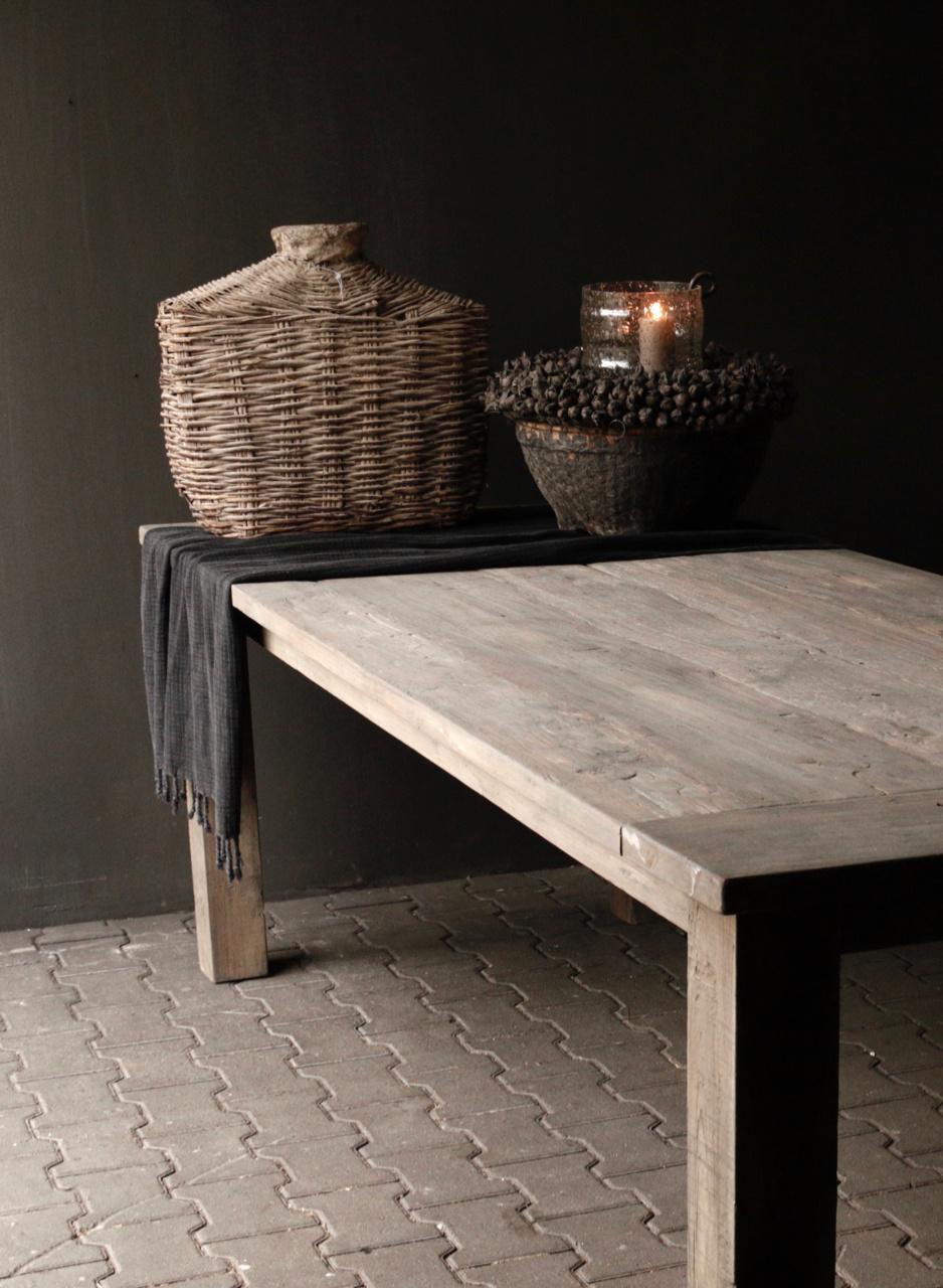 Mooie stoere vergrijsde eetkamer tafel oud hout-8