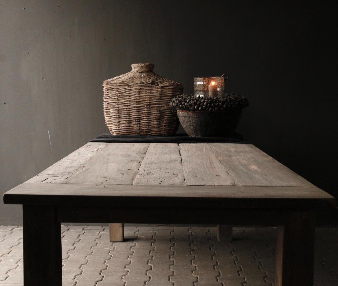 Mooie stoere vergrijsde eetkamer tafel oud hout-9
