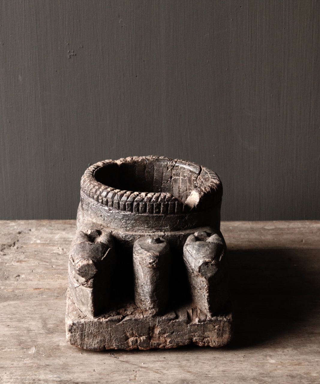 Old Wooden Candlestick from ancient ornament with carved sacred cows-3