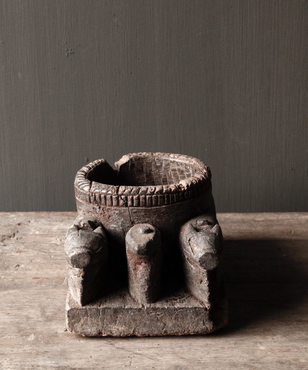 Old Wooden Candlestick from ancient ornament with carved sacred cows-6