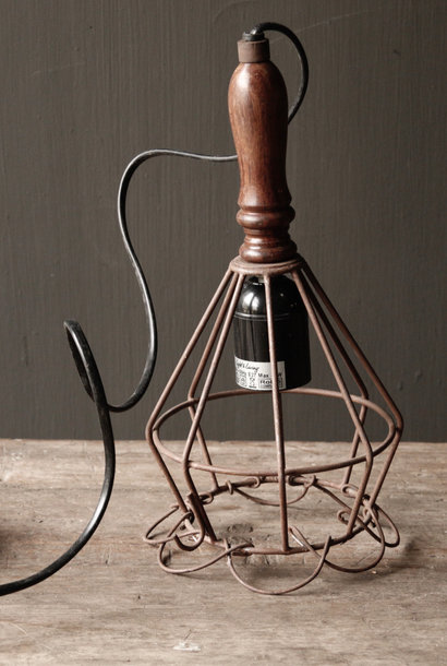 Iron hanging lamp with wooden handle