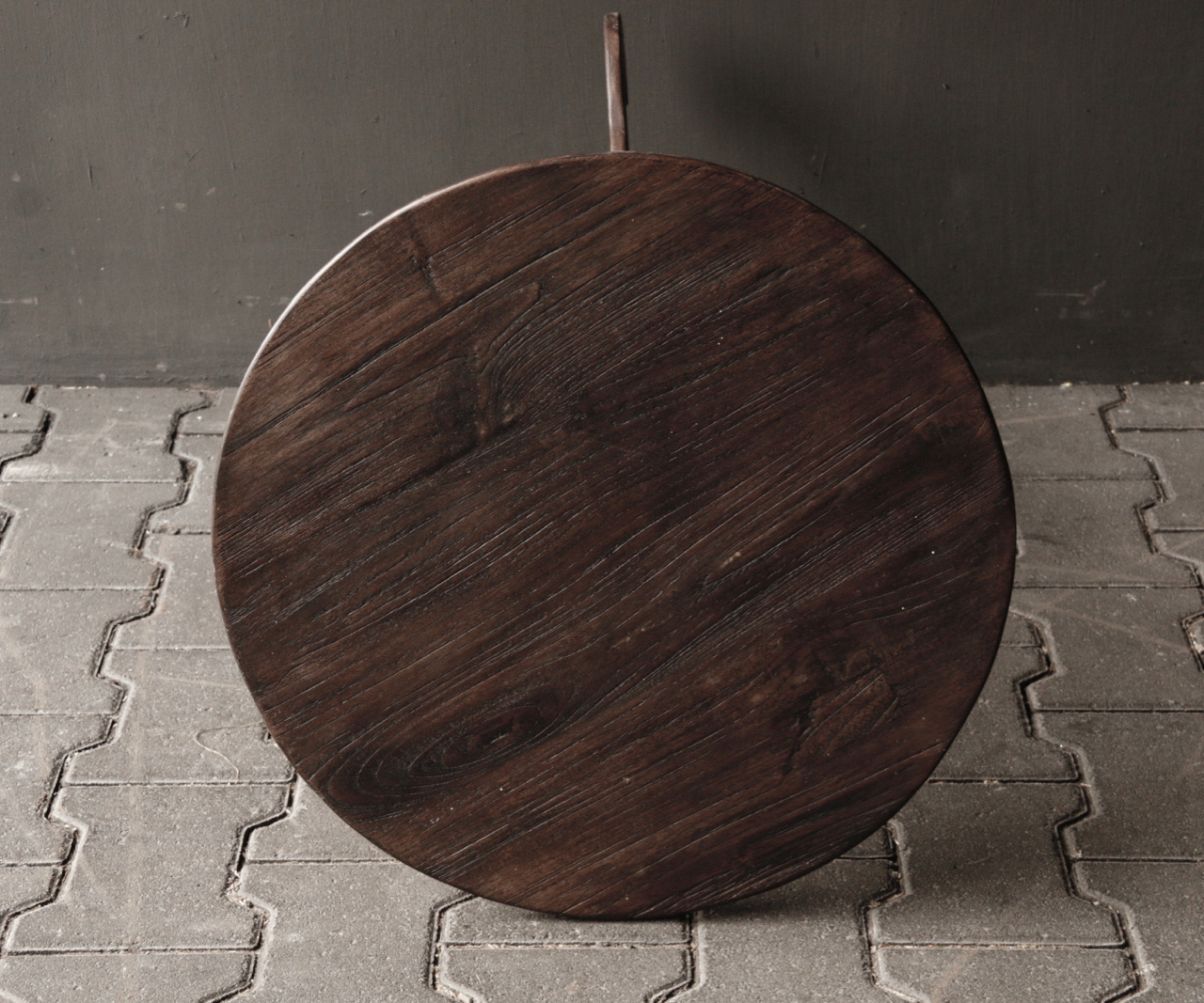 Dark wooden wine table with round top-2