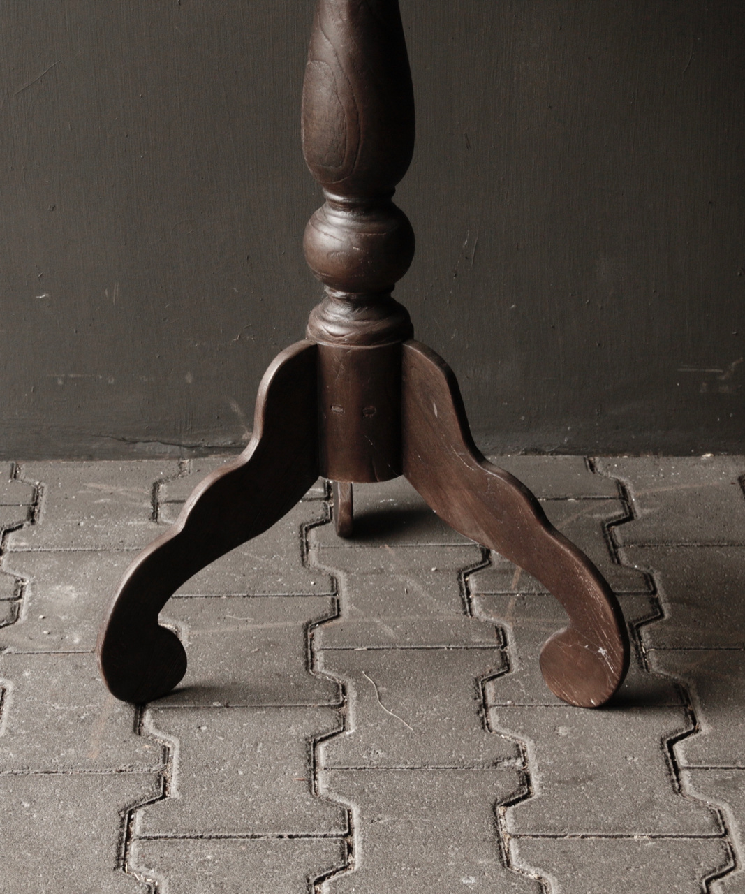Dark wooden wine table with round top-4