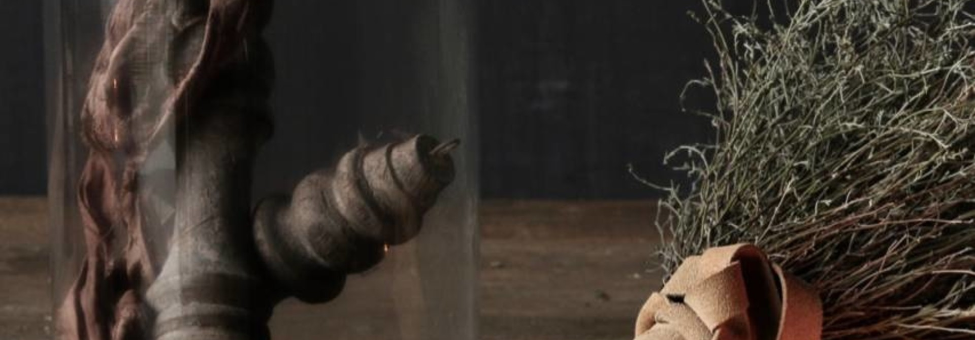 Cute little bell jar on brown wooden base