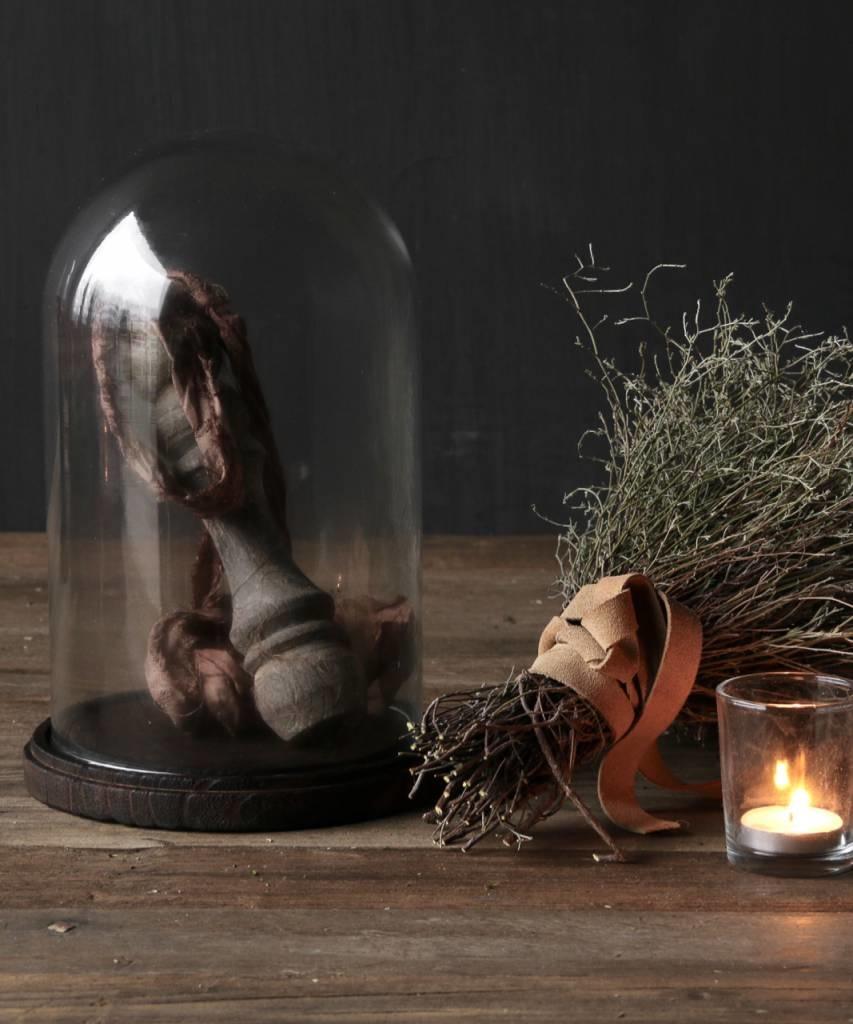 Cute little bell jar on brown wooden base-4