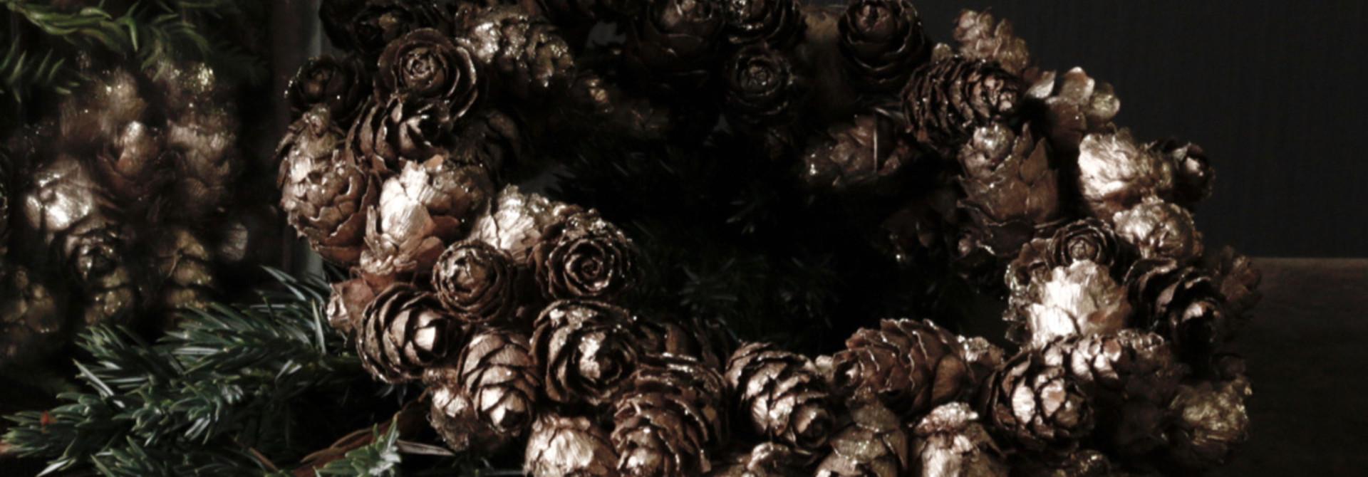 bronze colored pine apple wreath
