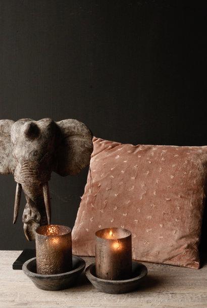 Indische hölzerne Elefantverzierung auf Stahlunterseite
