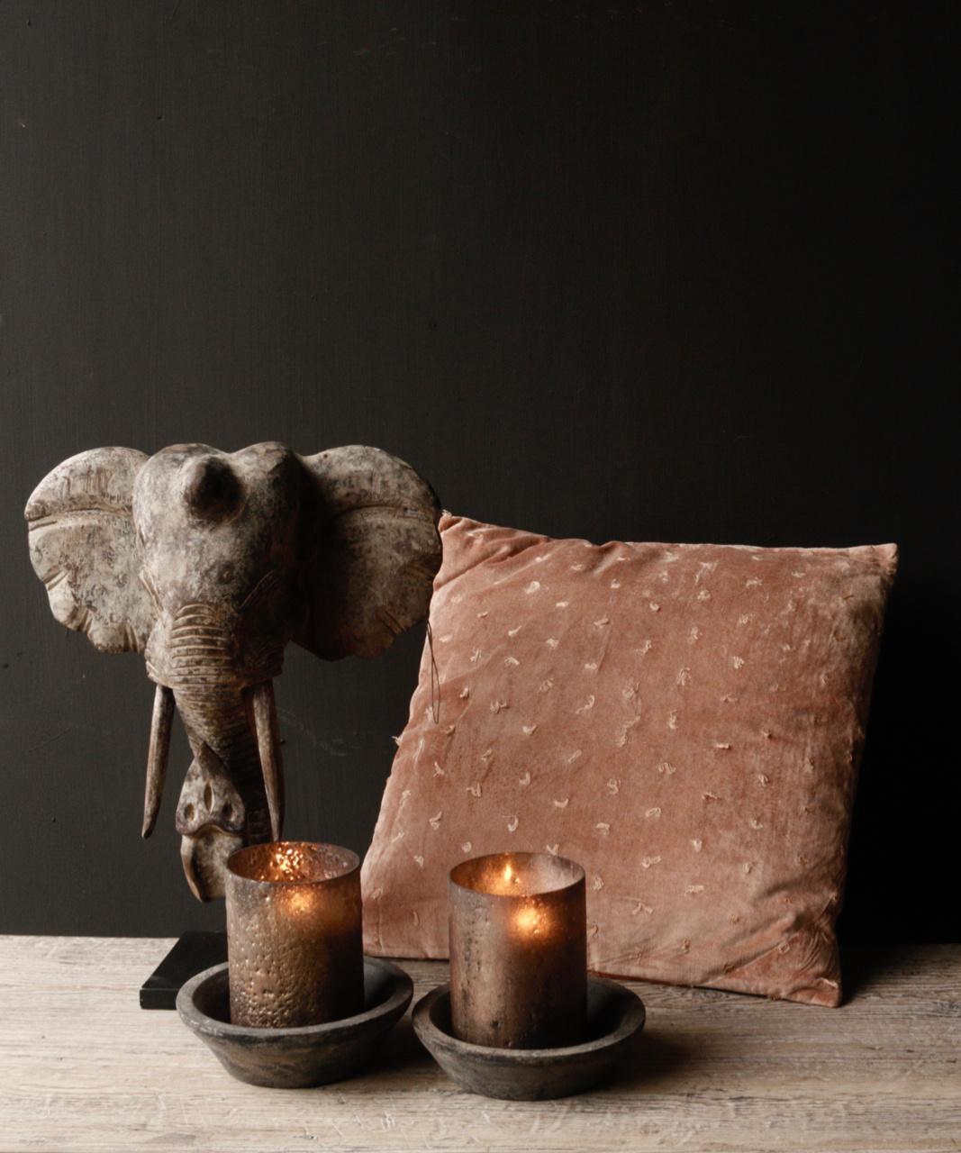 Indische hölzerne Elefantverzierung auf Stahlunterseite-1