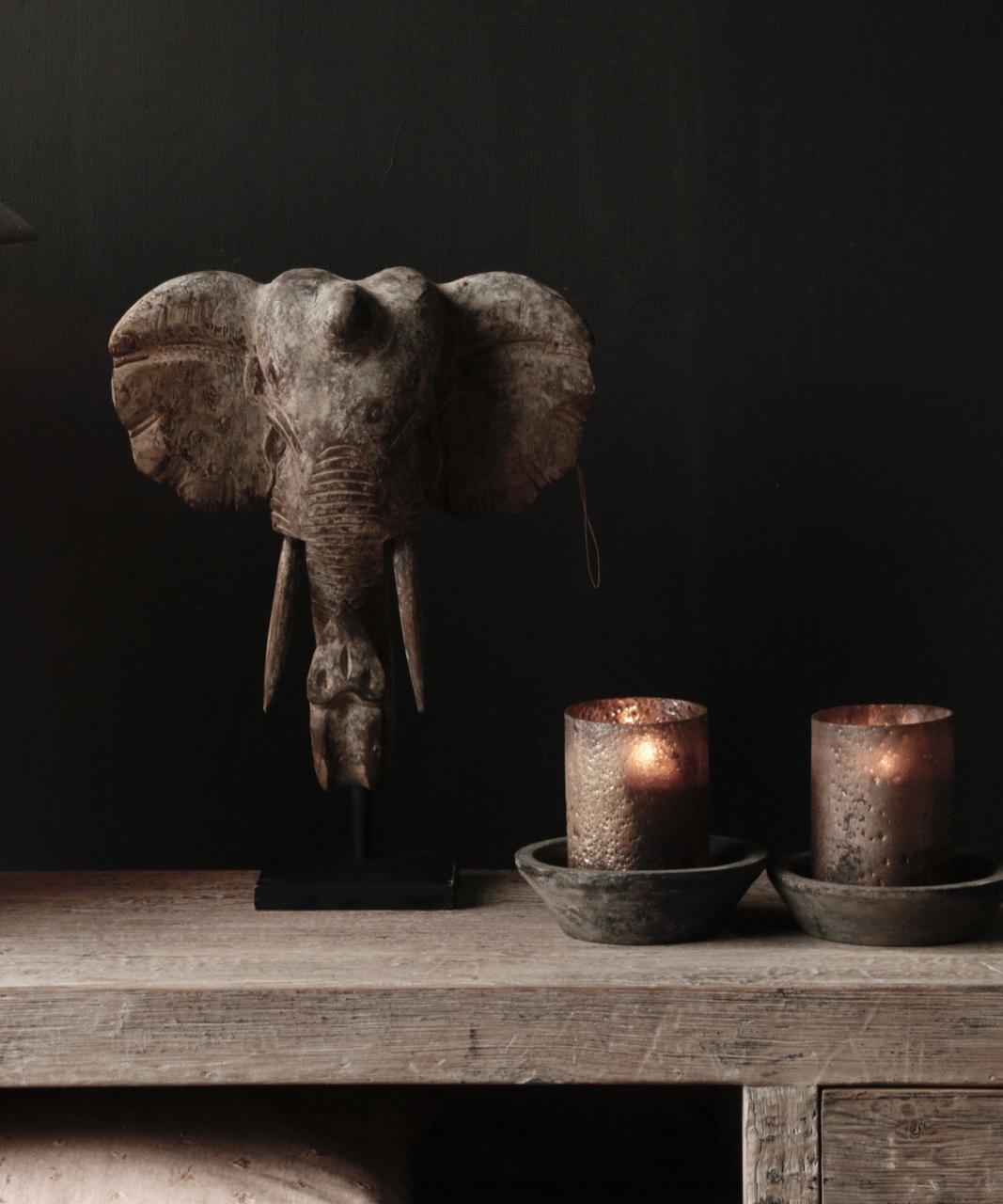 Indische hölzerne Elefantverzierung auf Stahlunterseite-2