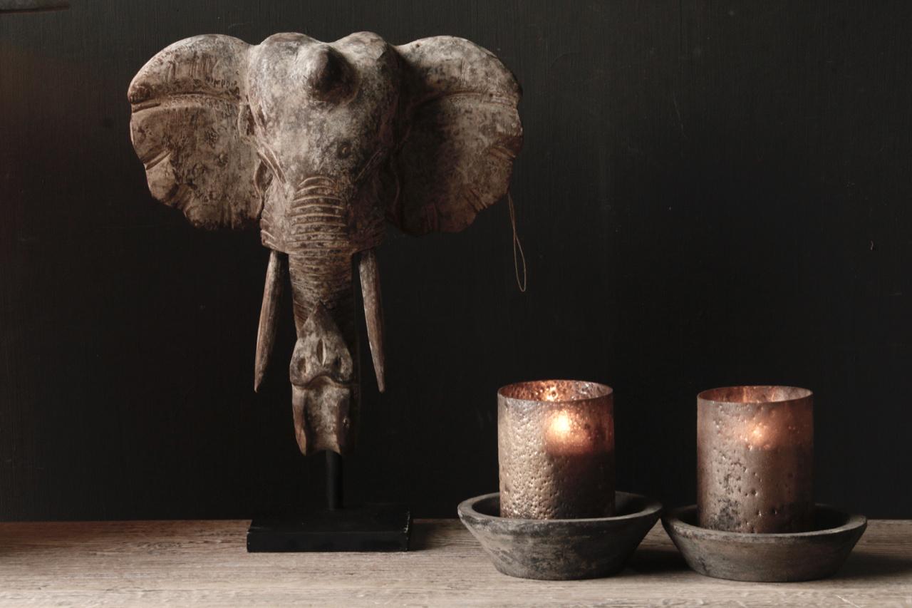 Indische hölzerne Elefantverzierung auf Stahlunterseite-4