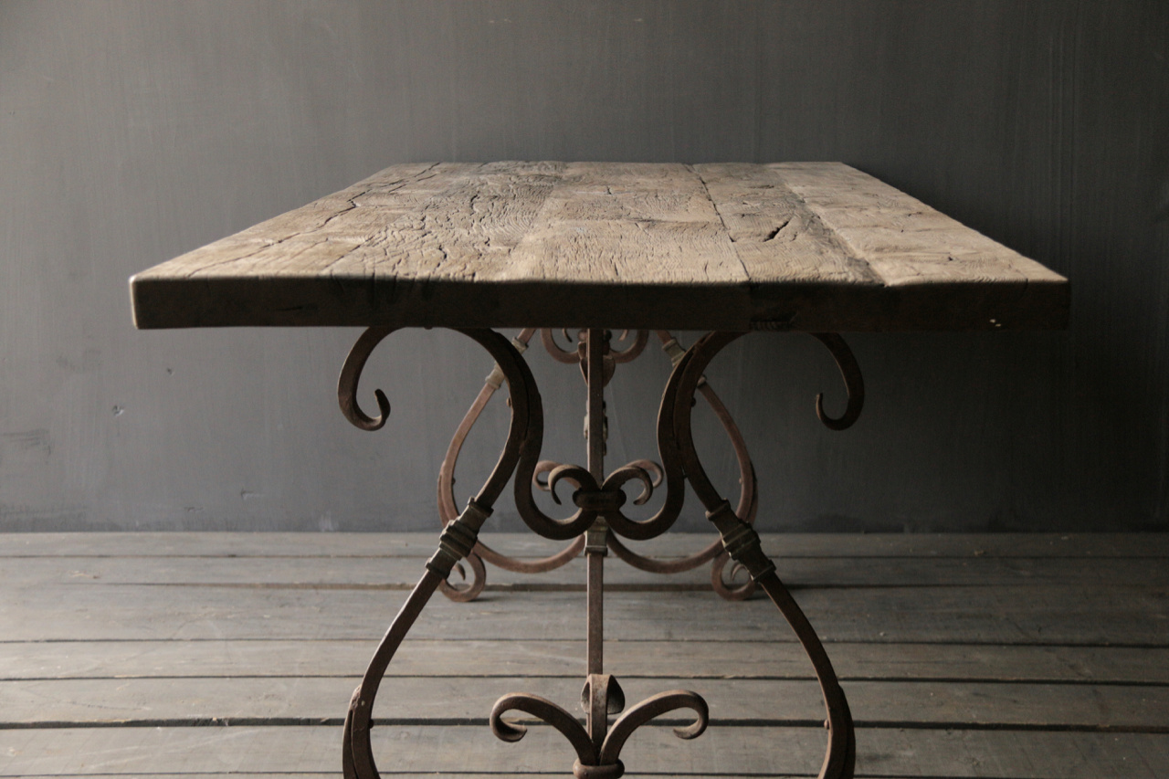 iron table frame french model with curls-2