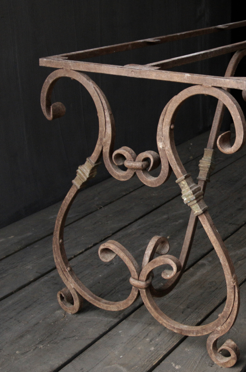 iron table frame french model with curls-4
