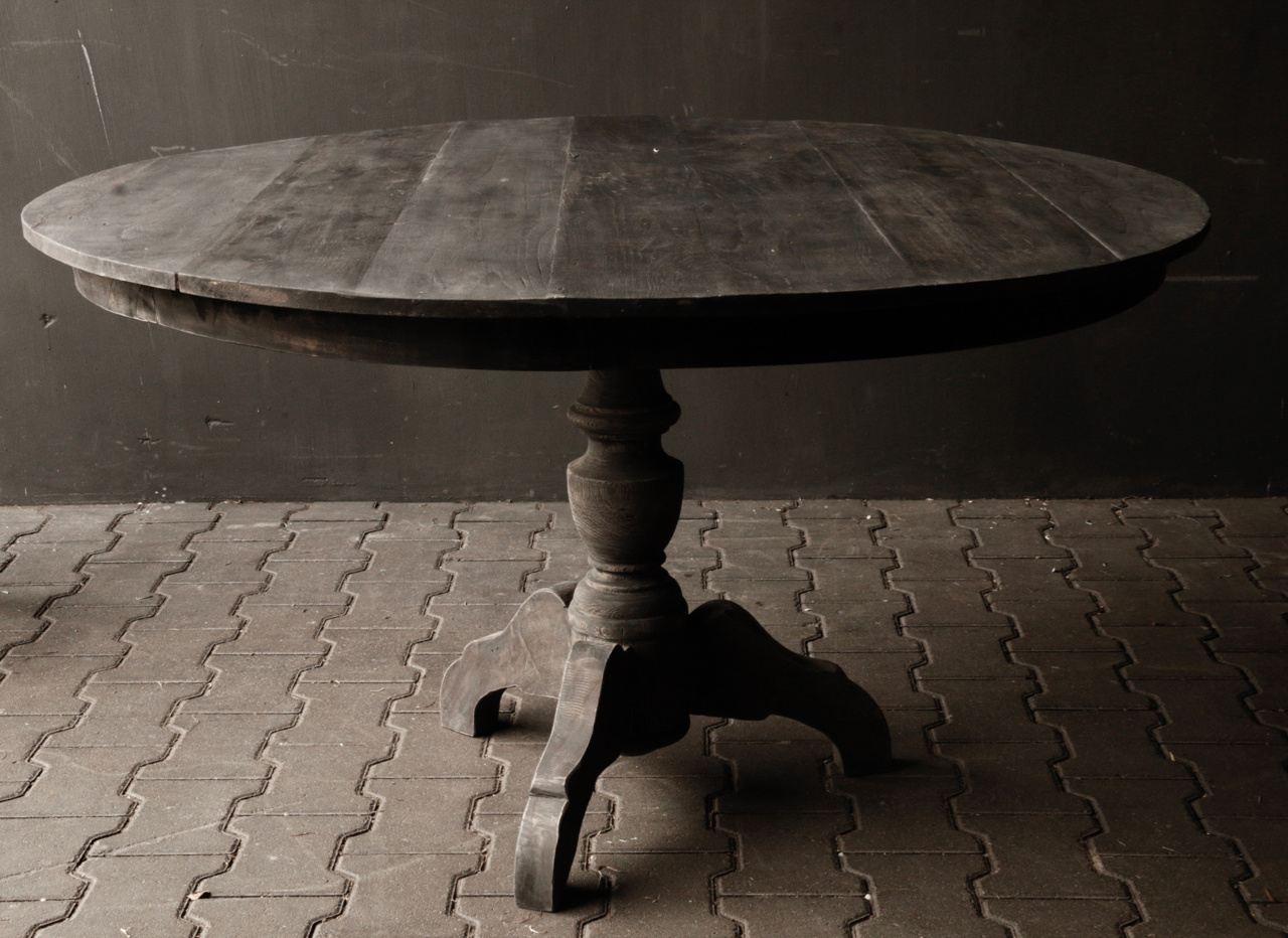 Tough round table made from old used wood-6