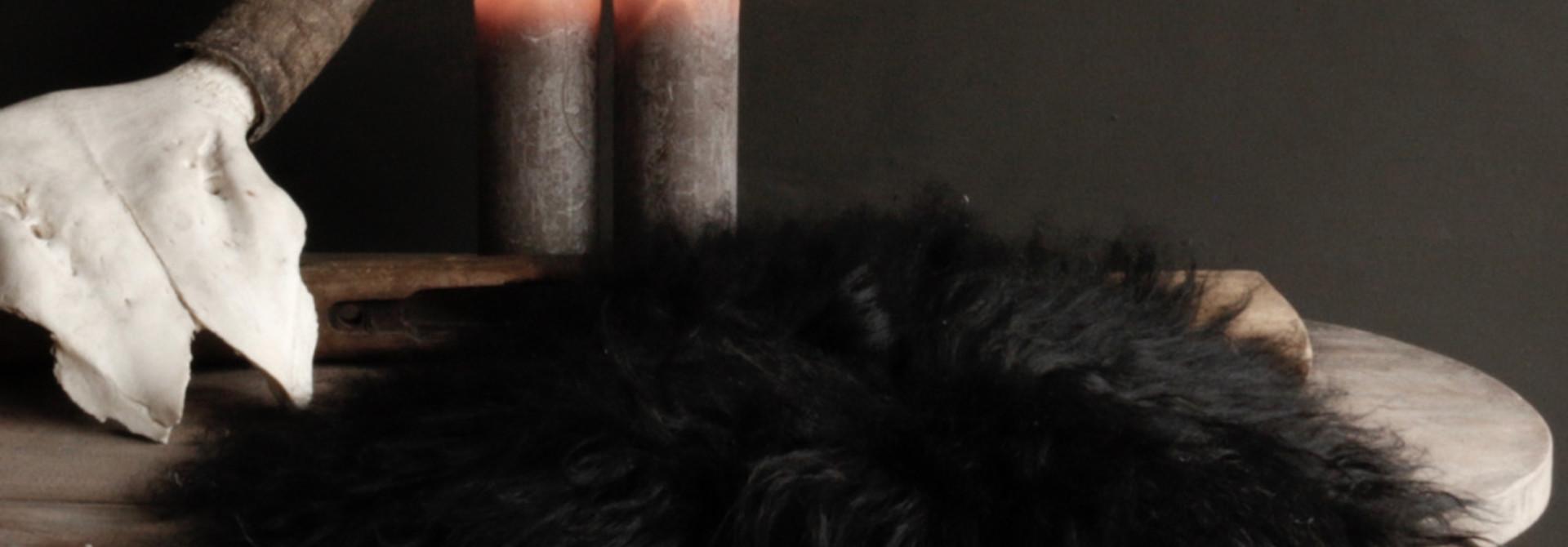 Rond schapen vachtje zwart/bruin