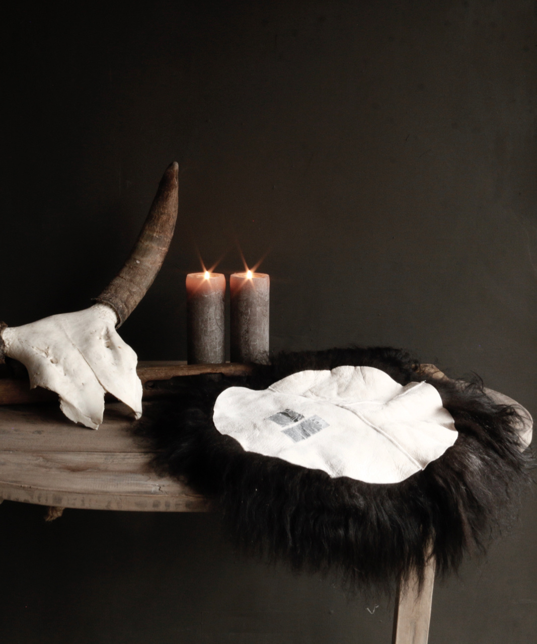 Rond schapen vachtje zwart/bruin-2