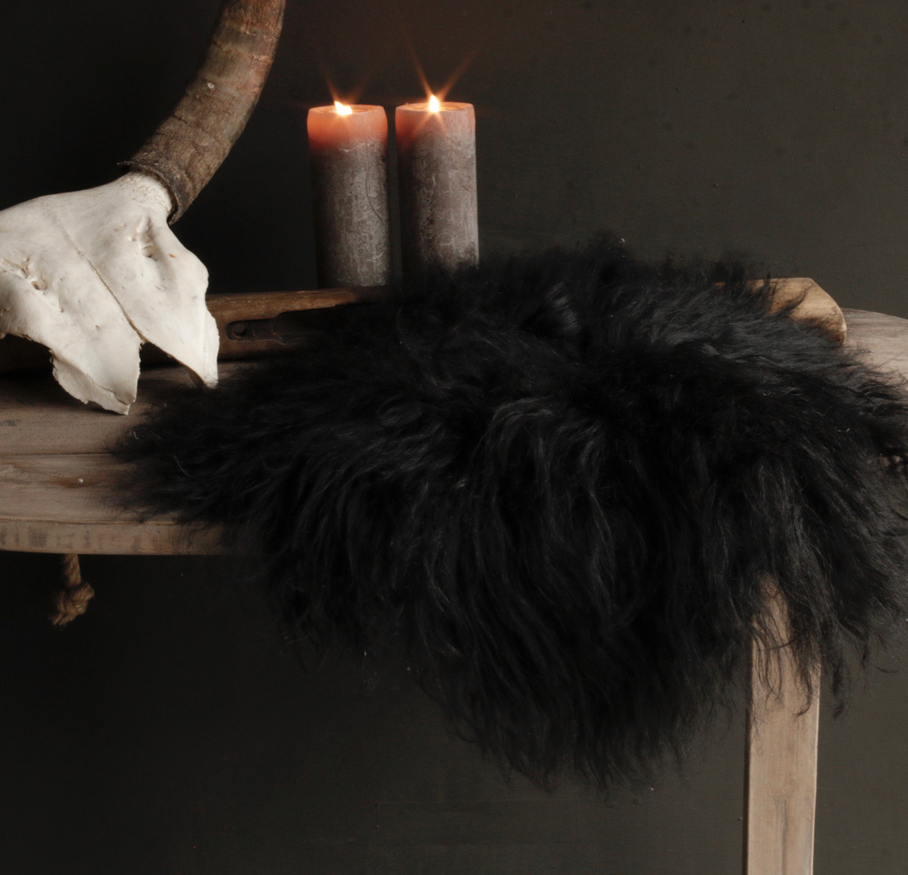 Rond schapen vachtje zwart/bruin-3