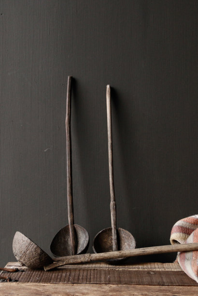 Old Nepalese spoon of coconut with bamboo handle
