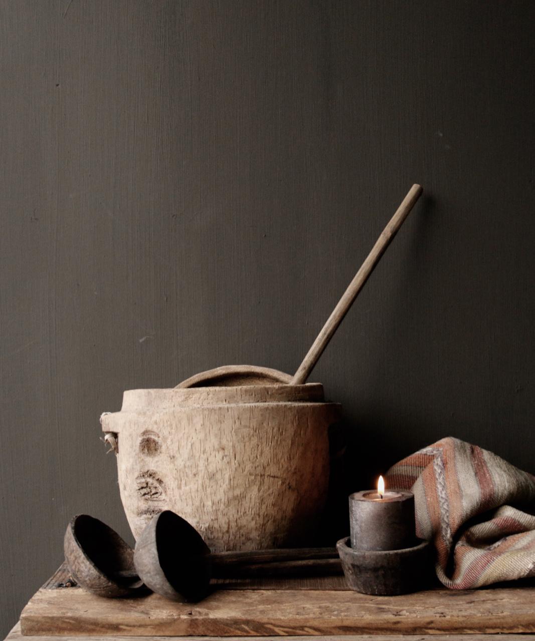 Alter nepalesischer Löffel der Kokosnuss mit Bambusgriff-4