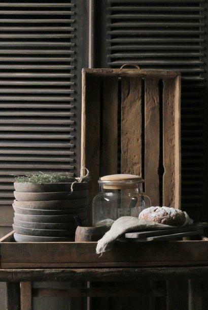Oud driftwood houten dienblad met ijzeren handgrepen