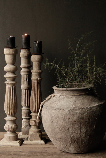 Beautiful Old Wooden Baluster Candlesticks