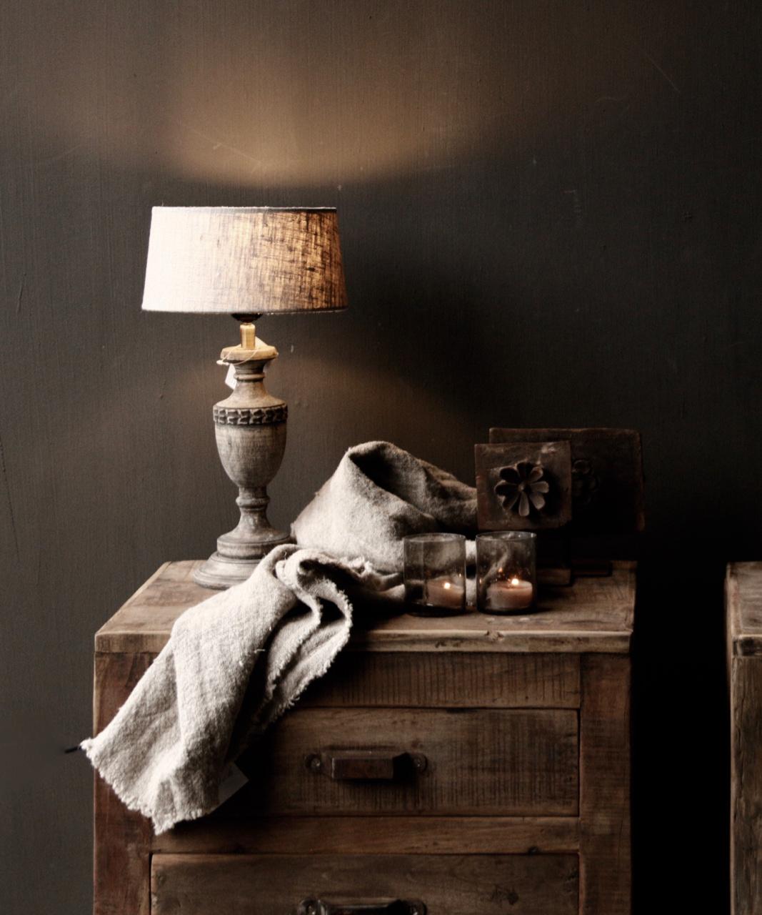 Schattig klein houten donkergrijs/bruin lampje-1