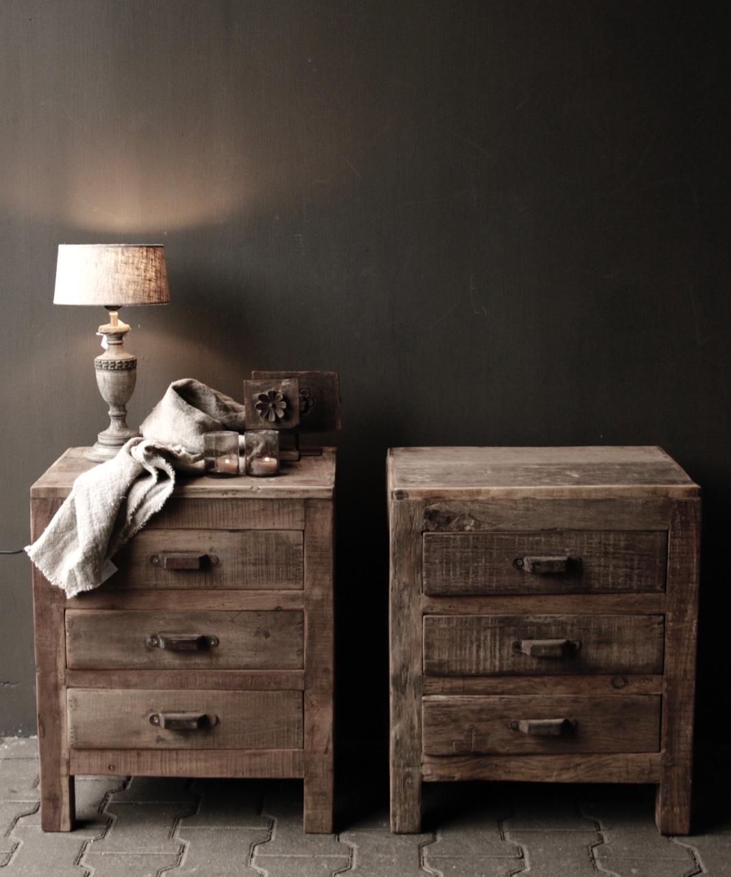 Schattig klein houten donkergrijs/bruin lampje-3