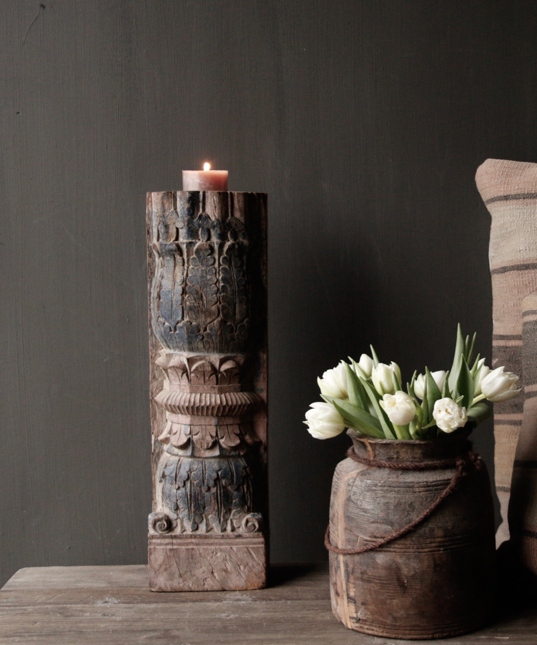 Wooden candlestick from old Indian pillar-1
