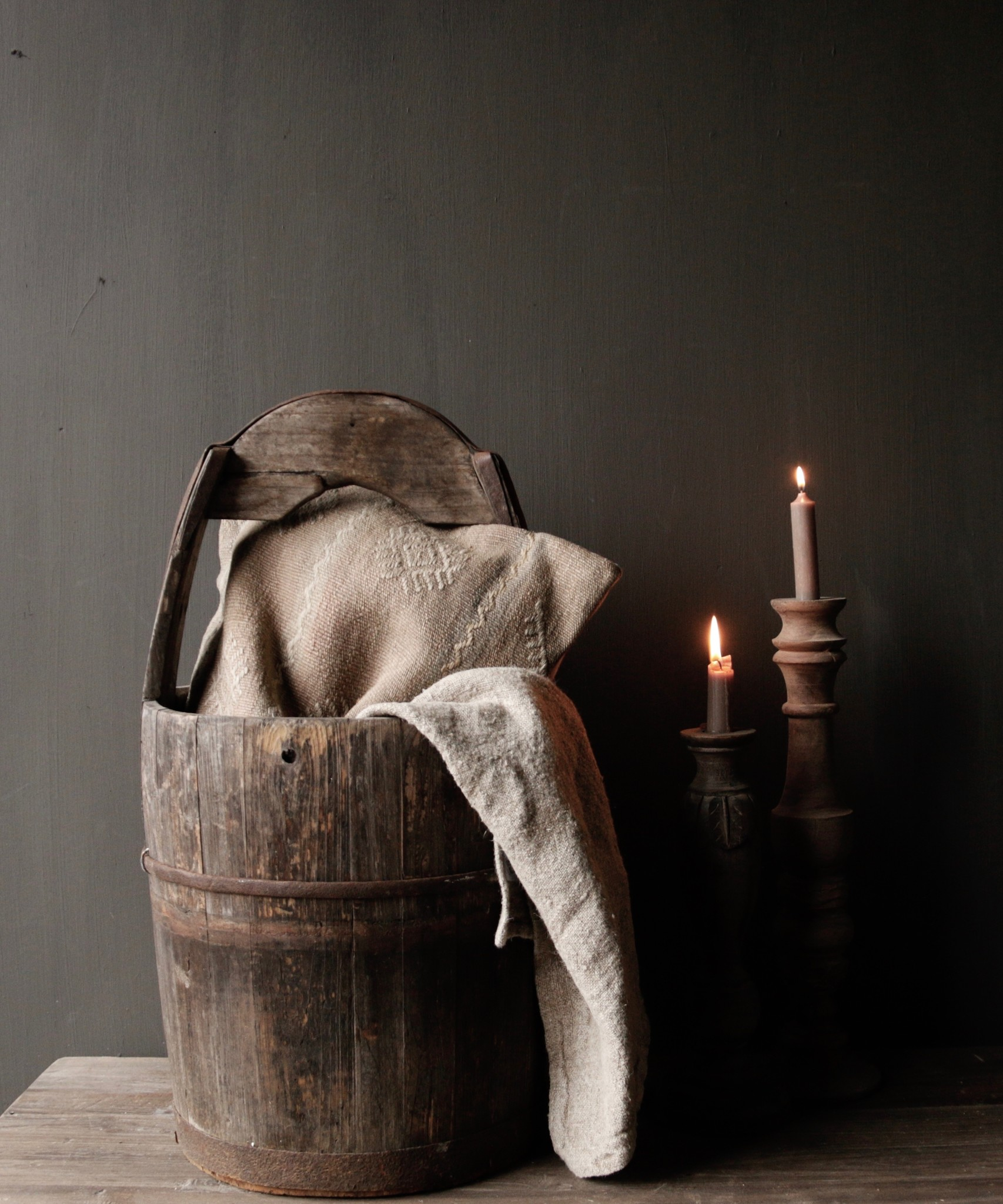 Authentic old wooden bucket-1