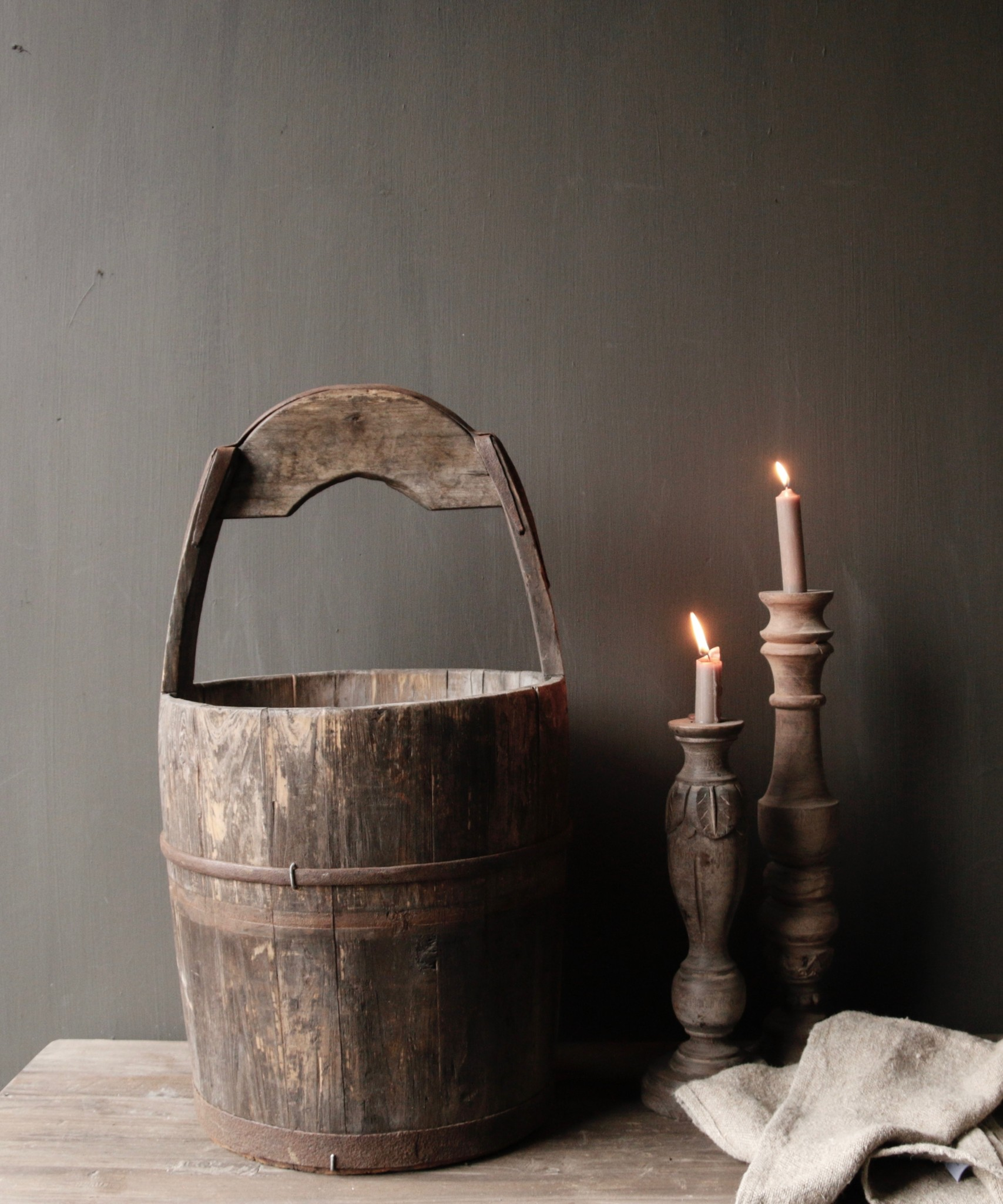 Authentic old wooden bucket-5