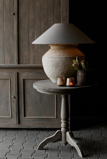 GERESERVEERD Stoere  ronde wijntafel gemaakt van oud gebruikt hout