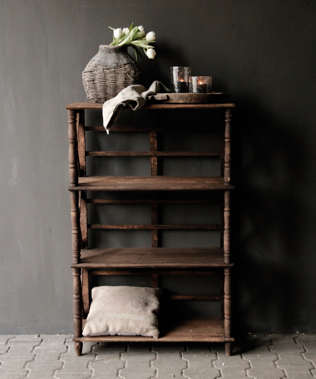 Tough wooden rack with three shelves-1