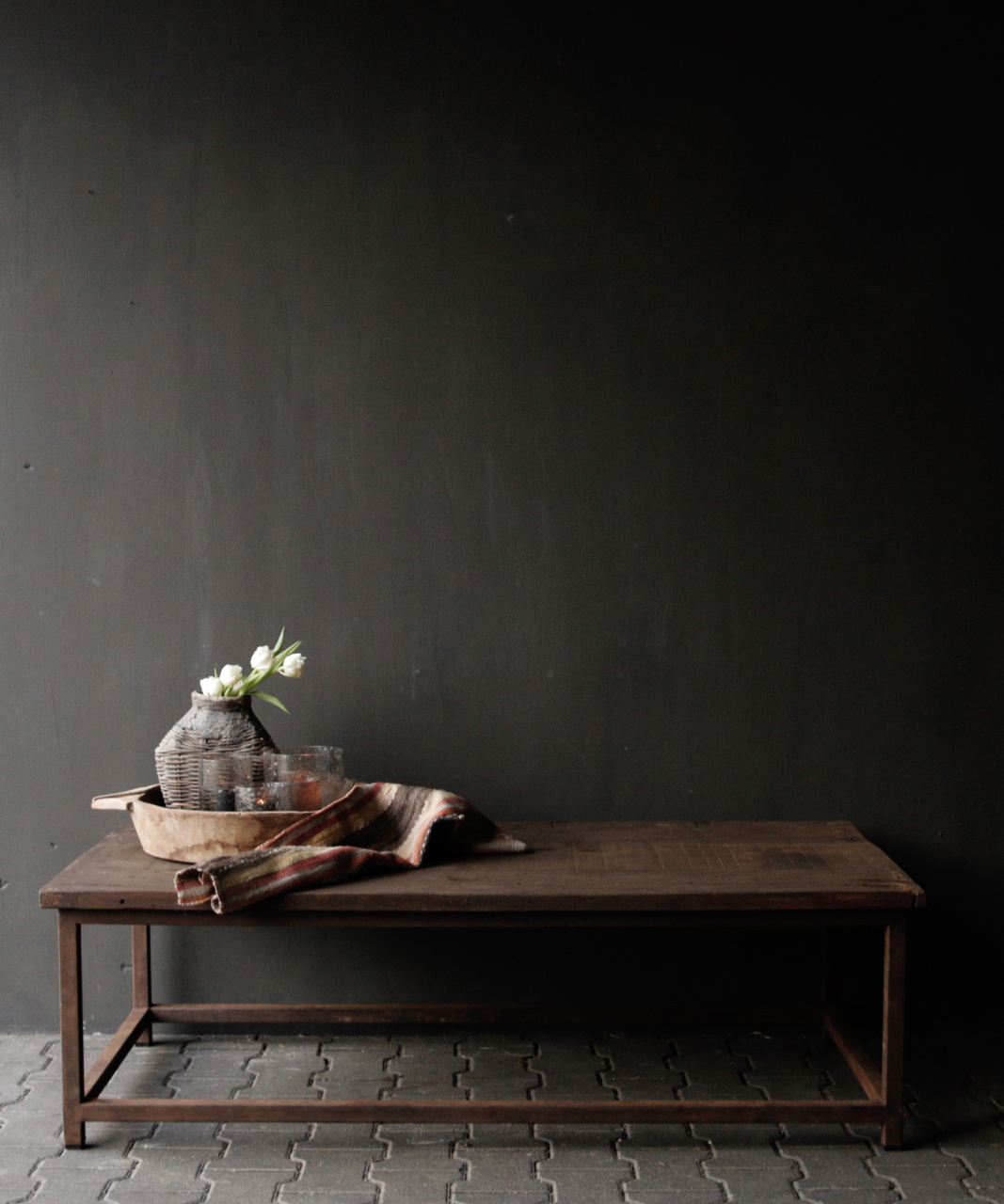 Dark wooden coffee table with iron rusty frame-1