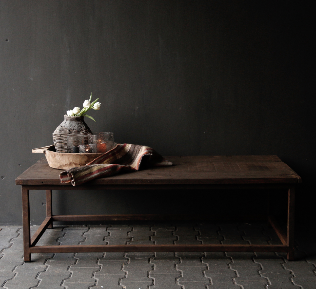 Dark wooden coffee table with iron rusty frame-2