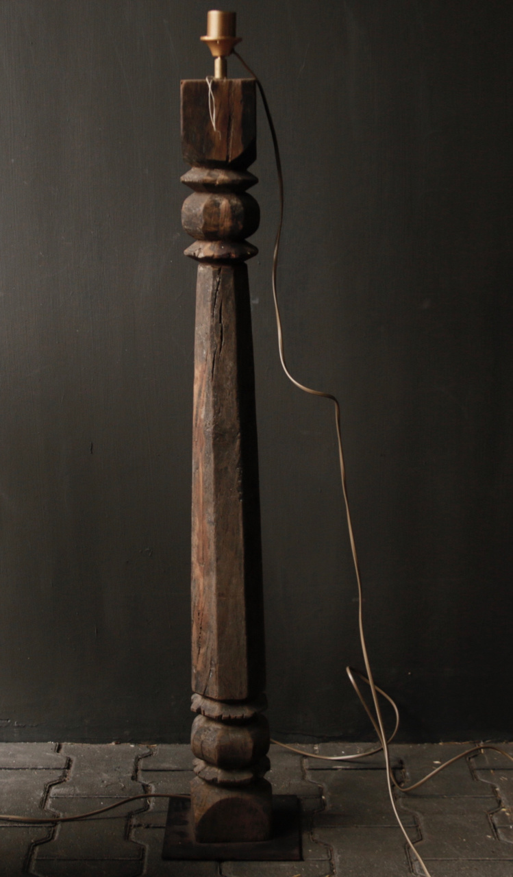 Beautiful Old Wooden Baluster floor lamp base-3