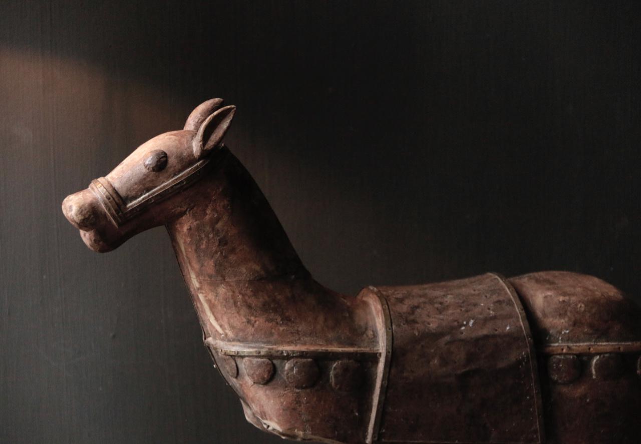 Prachtig Uniek Antiek houten paard op ijzeren standaard-8